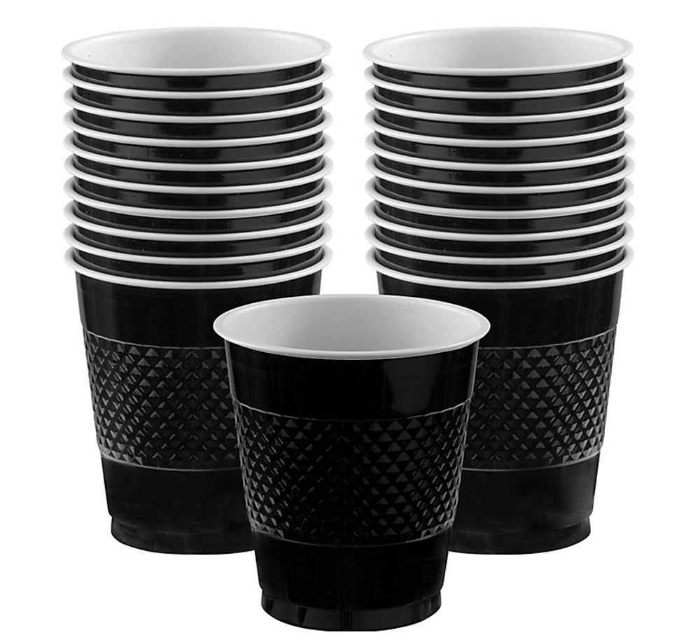 Cups Jet Black 355ml Plastic  - Pack of 20