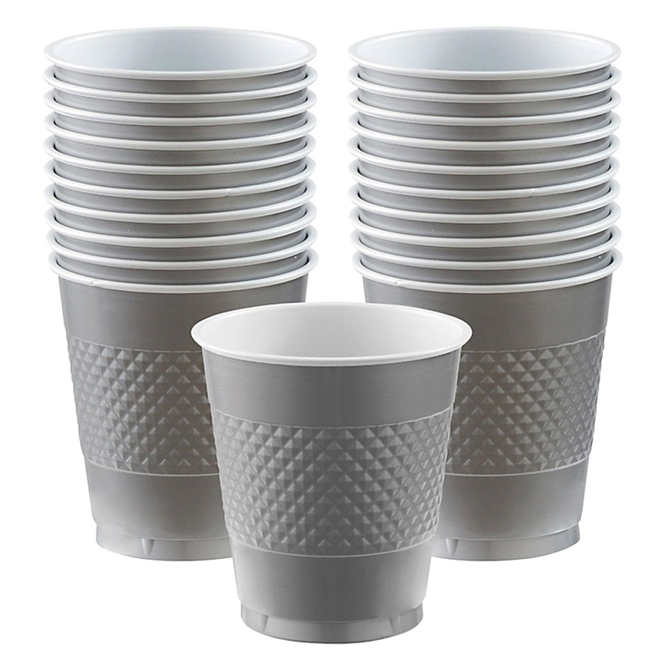 Cups Silver 355ml Plastic  - Pack of 20