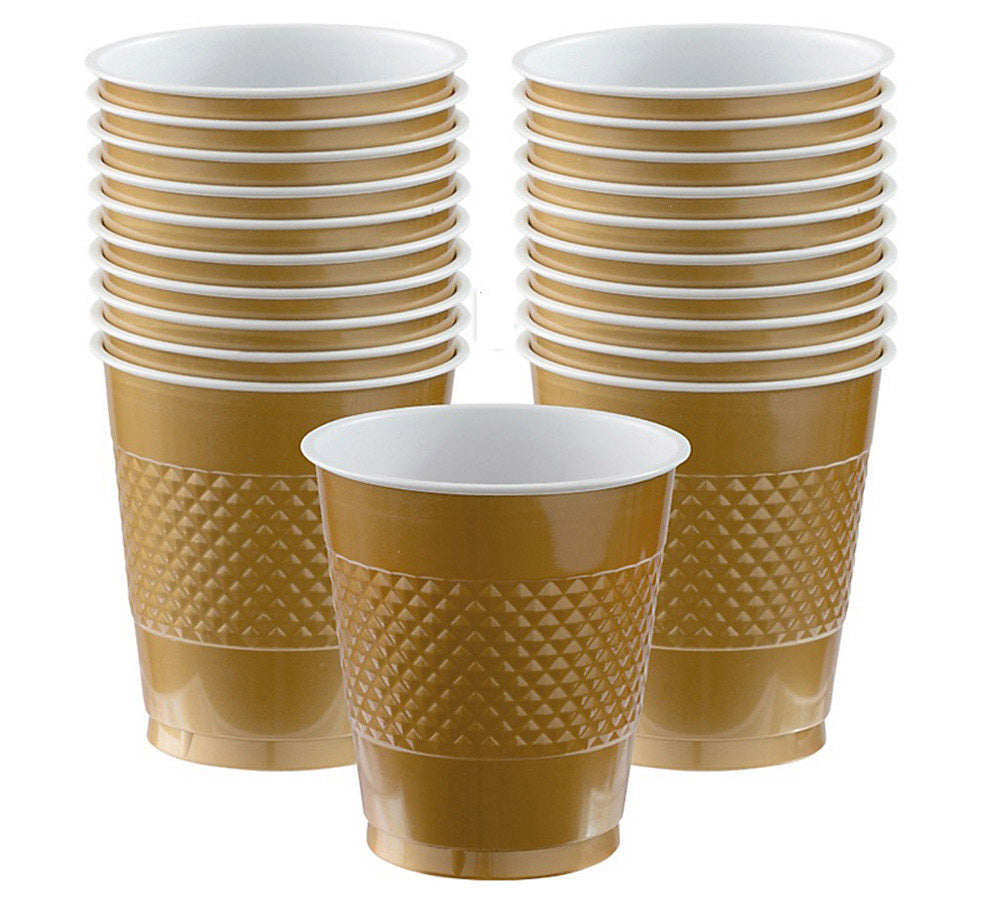 Cups Gold 355ml Plastic  - Pack of 20