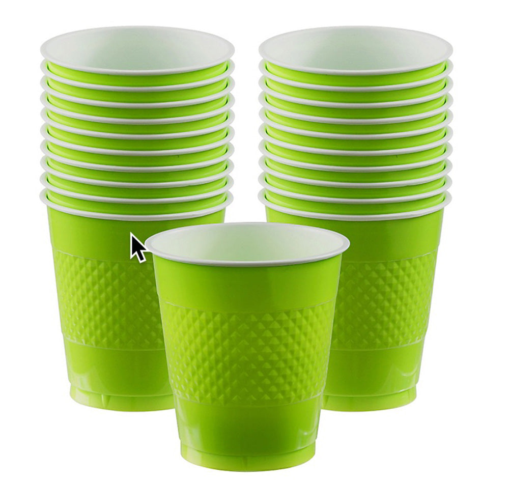 Cups Kiwi Lime Green 355ml Plastic  - Pack of 20