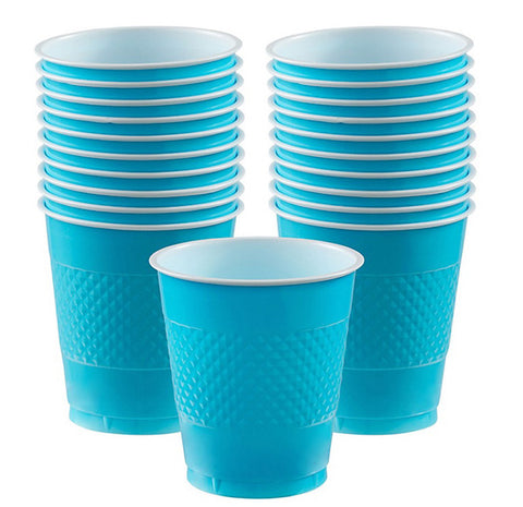 Cups Caribbean Blue 355ml Plastic  - Pack of 20