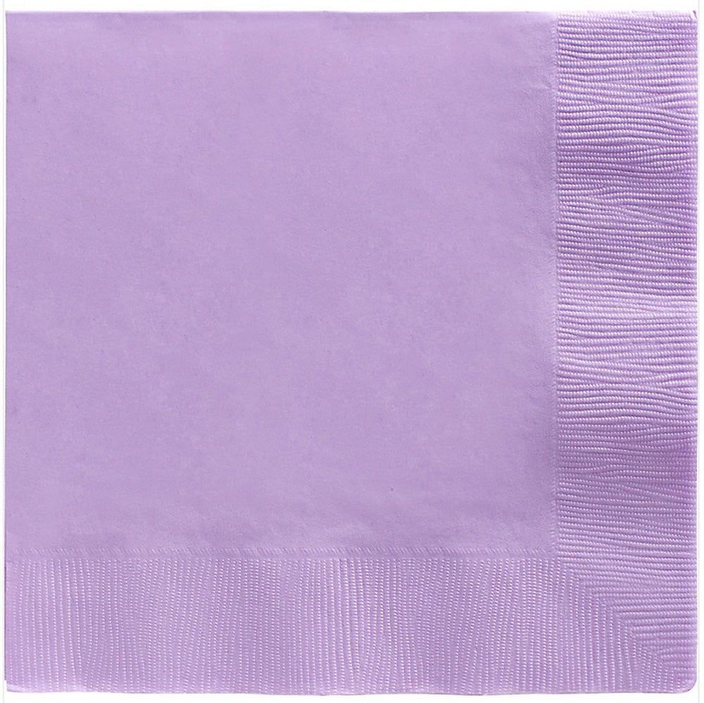 Beverage Napkins Lavender Lilac 2 Ply 25cm x 25cm - Pack of 20