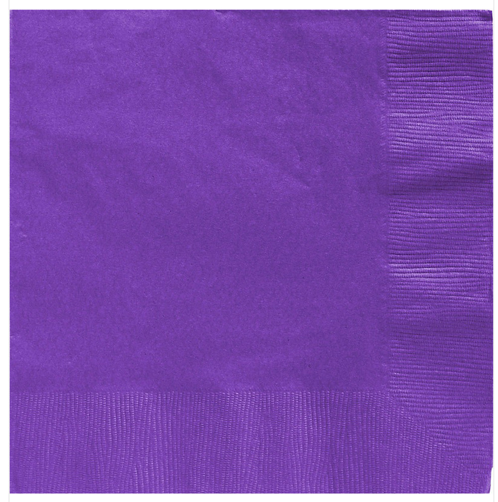 Beverage Napkins New Purple 2 Ply 25cm x 25cm - Pack of 20