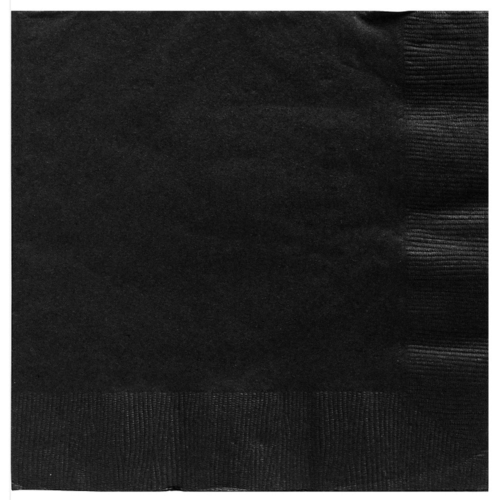 Beverage Napkins Jet Black 2 Ply 25cm x 25cm - Pack of 20