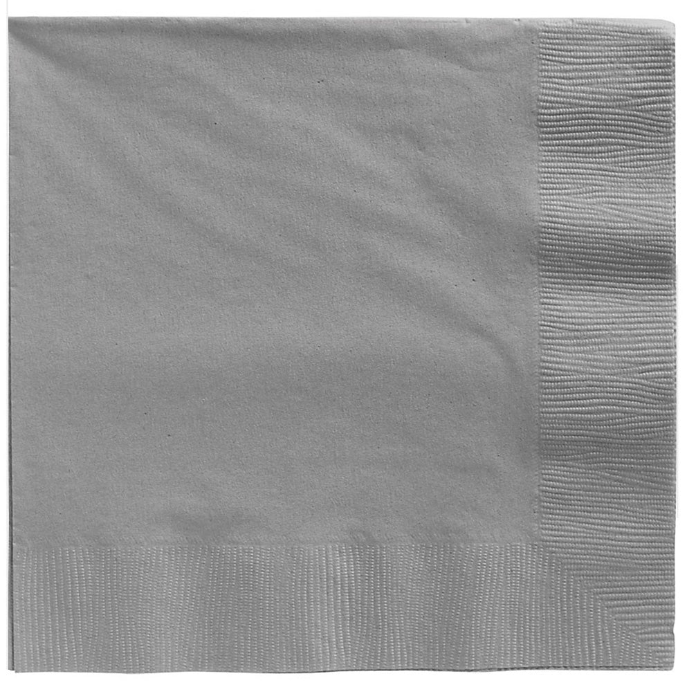 Beverage Napkins Silver 2 Ply 25cm x 25cm - Pack of 20