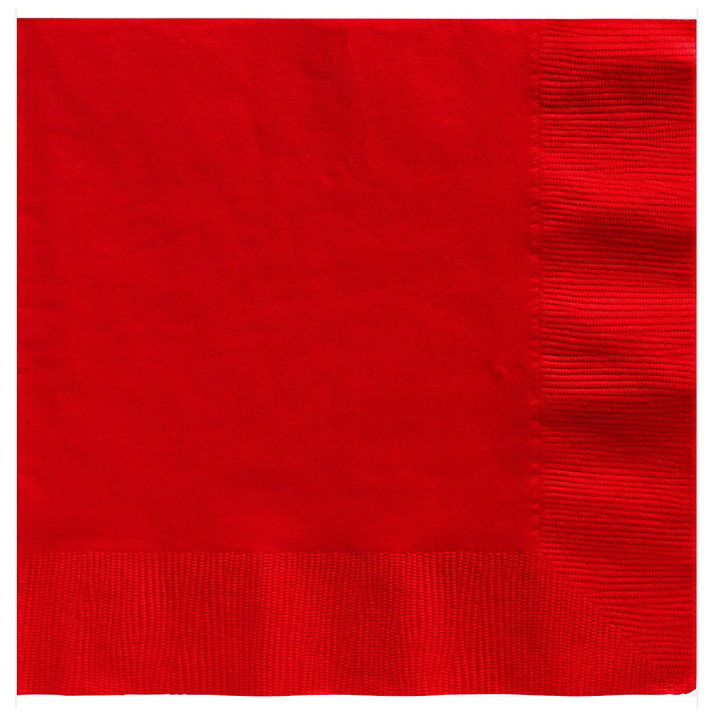 Beverage Napkins Apple Red 2 Ply 25cm x 25cm - Pack of 20