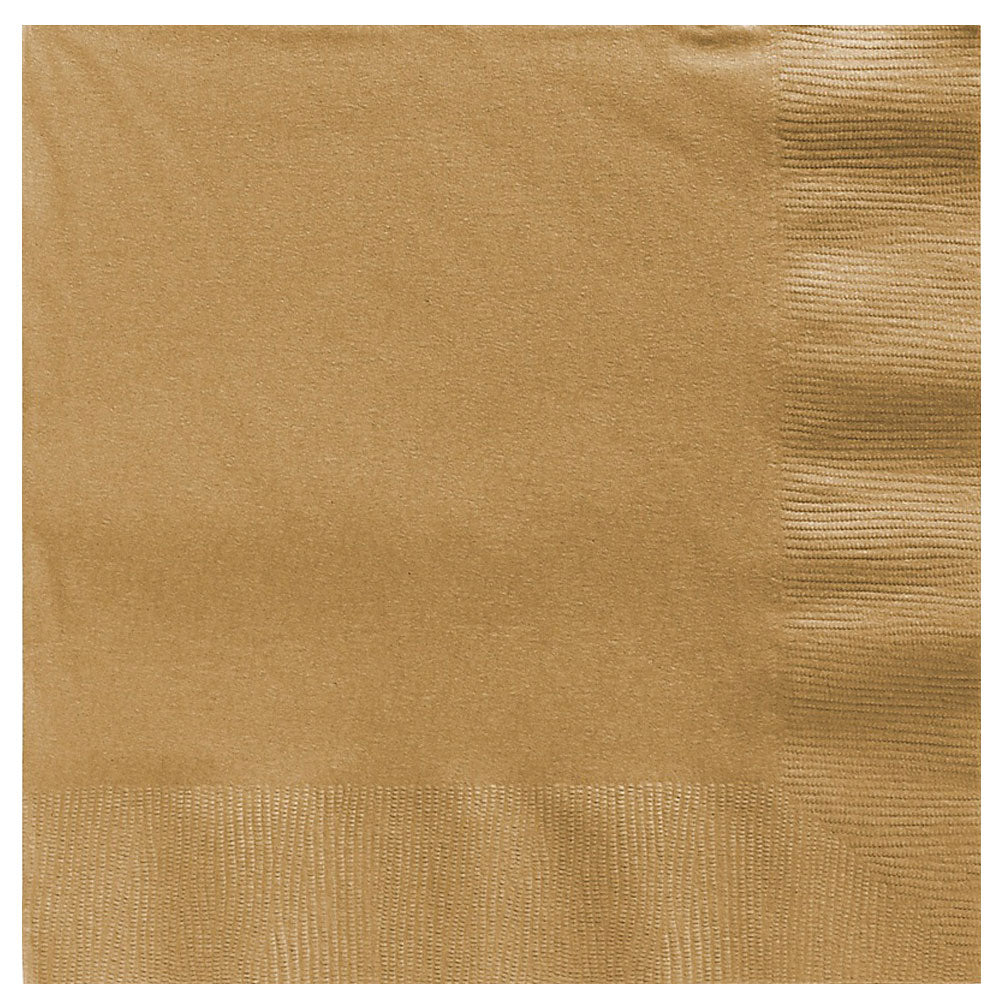 Luncheon Napkins Gold 2 Ply 33cm x 33cm - Pack of 20