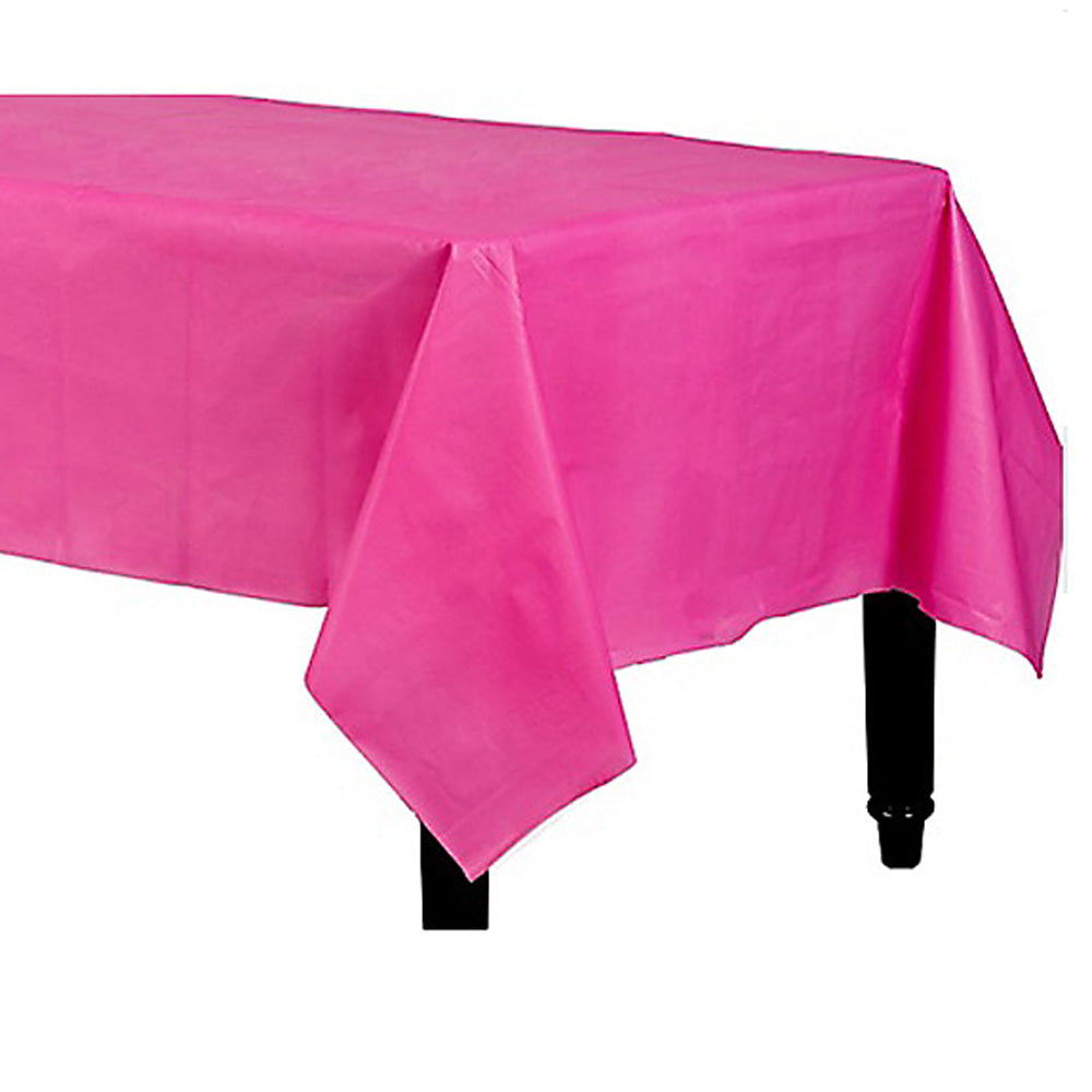 Tablecover Rectangle Bright Pink Plastic 137cm x 274cm - Each