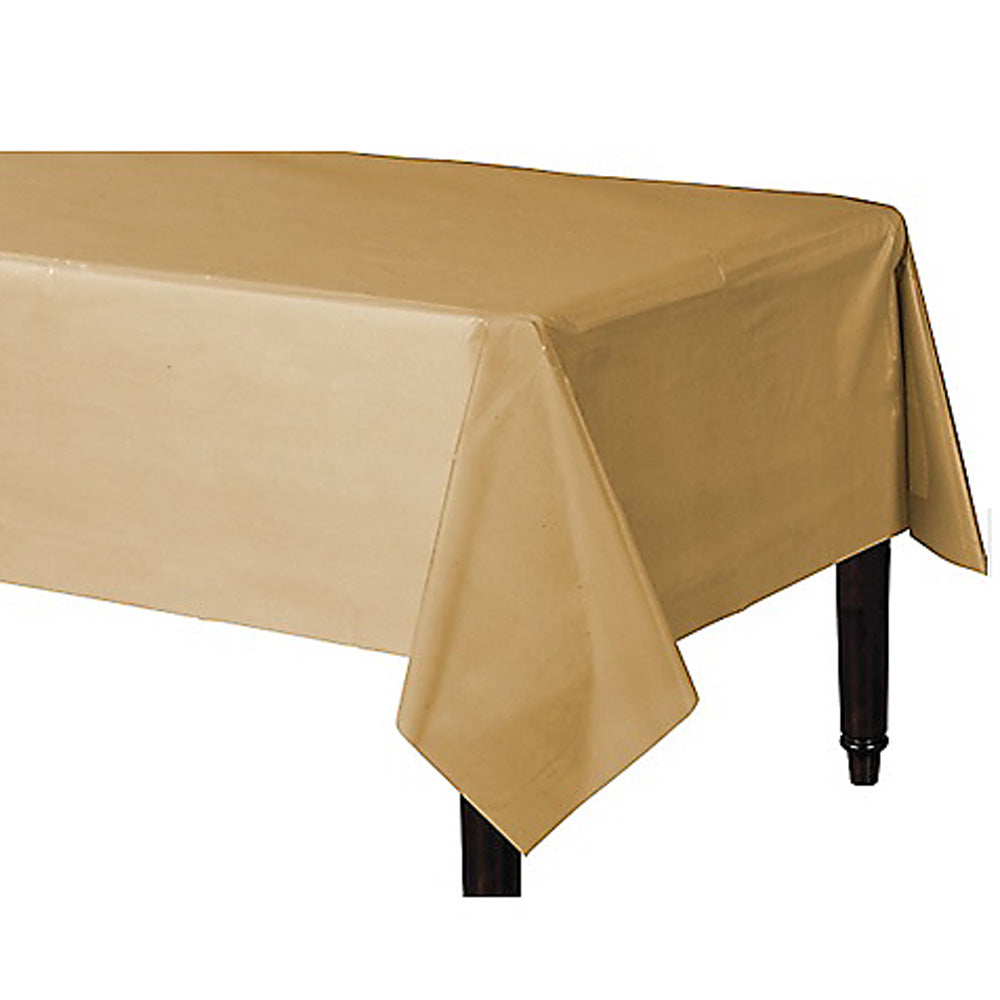 Tablecover Rectangle Gold Plastic 137cm x 274cm - Each