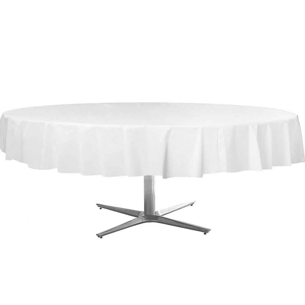 Tablecover Round Frosty White Plastic 213cm - Each