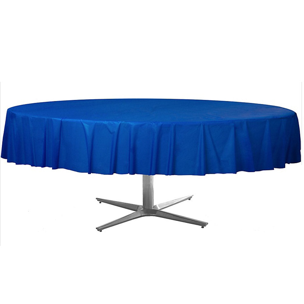 Tablecover Round Bright Royal Blue Plastic 213cm - Each