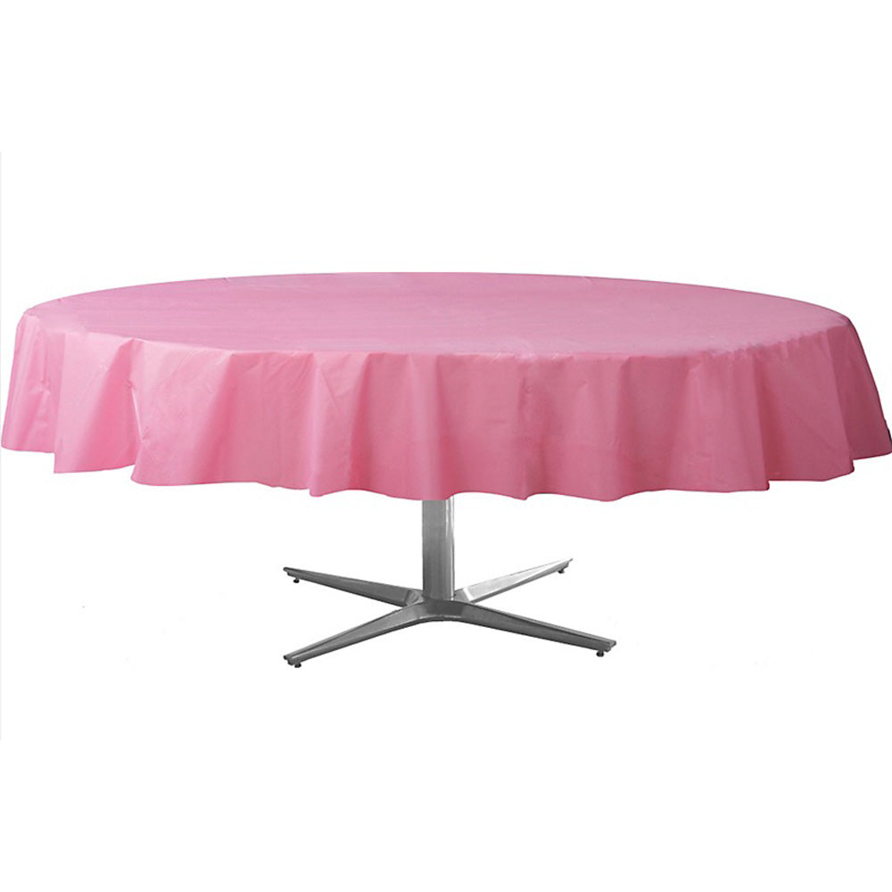 Tablecover Round New Pastel Pink Plastic 213cm - Each