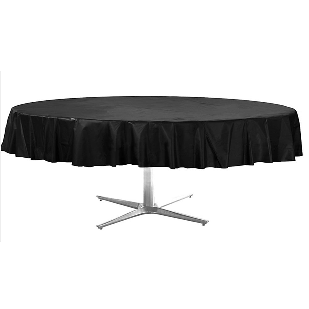 Tablecover Round Jet Black Plastic 213cm - Each