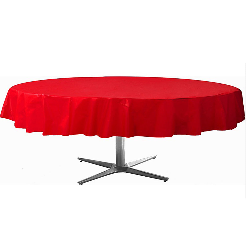 Tablecover Round Apple Red Plastic 213cm - Each