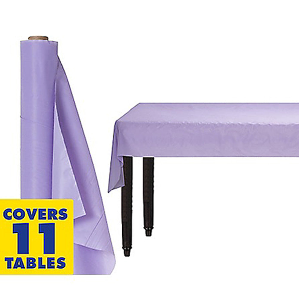 Tablecover Roll Lavender Lilac Plastic 1.22m x 30.48m (Fits Approx 12 Banquet Tables) - Roll