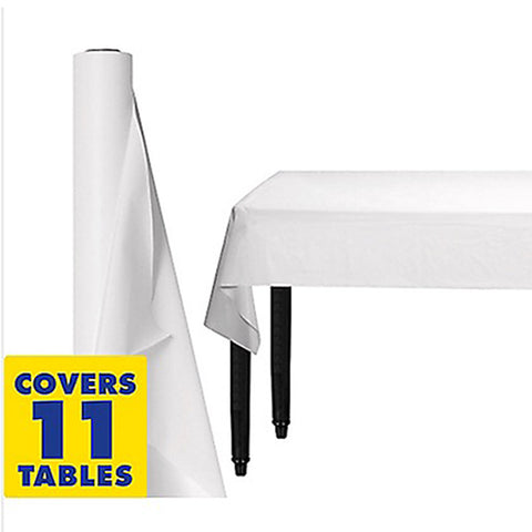 Tablecover Roll White Plastic 1.22m x 30.48m (Fits Approx 12 Banquet Tables) - Roll