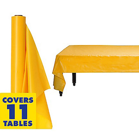 Tablecover Roll Yellow Sunshine Plastic 1.22m x 30.48m (Fits Approx 12 Banquet Tables) - Roll