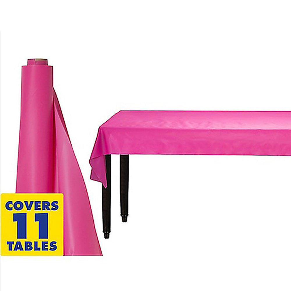 Tablecover Roll Bright Pink Plastic 1.22m x 30.48m (Fits Approx 12 Banquet Tables) - Roll