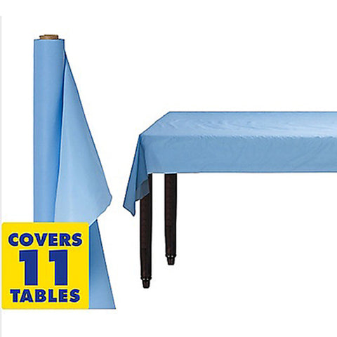 Tablecover Roll Pastel Blue Plastic 1.22m x 30.48m (Fits Approx 12 Banquet Tables) - Roll
