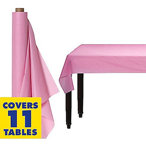 Tablecover Roll New Pastel Pink Plastic 1.22m x 30.48m (Fits Approx 12 Banquet Tables) - Roll
