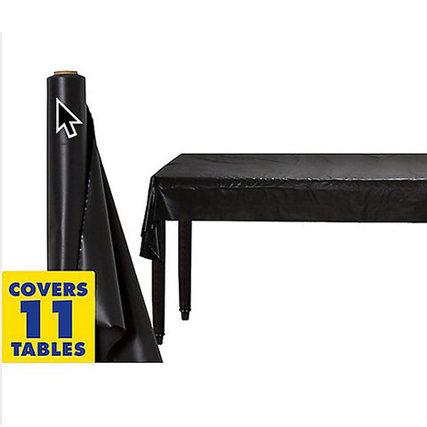 Tablecover Roll Jet Black Plastic 1.22m x 30.48m (Fits Approx 12 Banquet Tables) - Roll