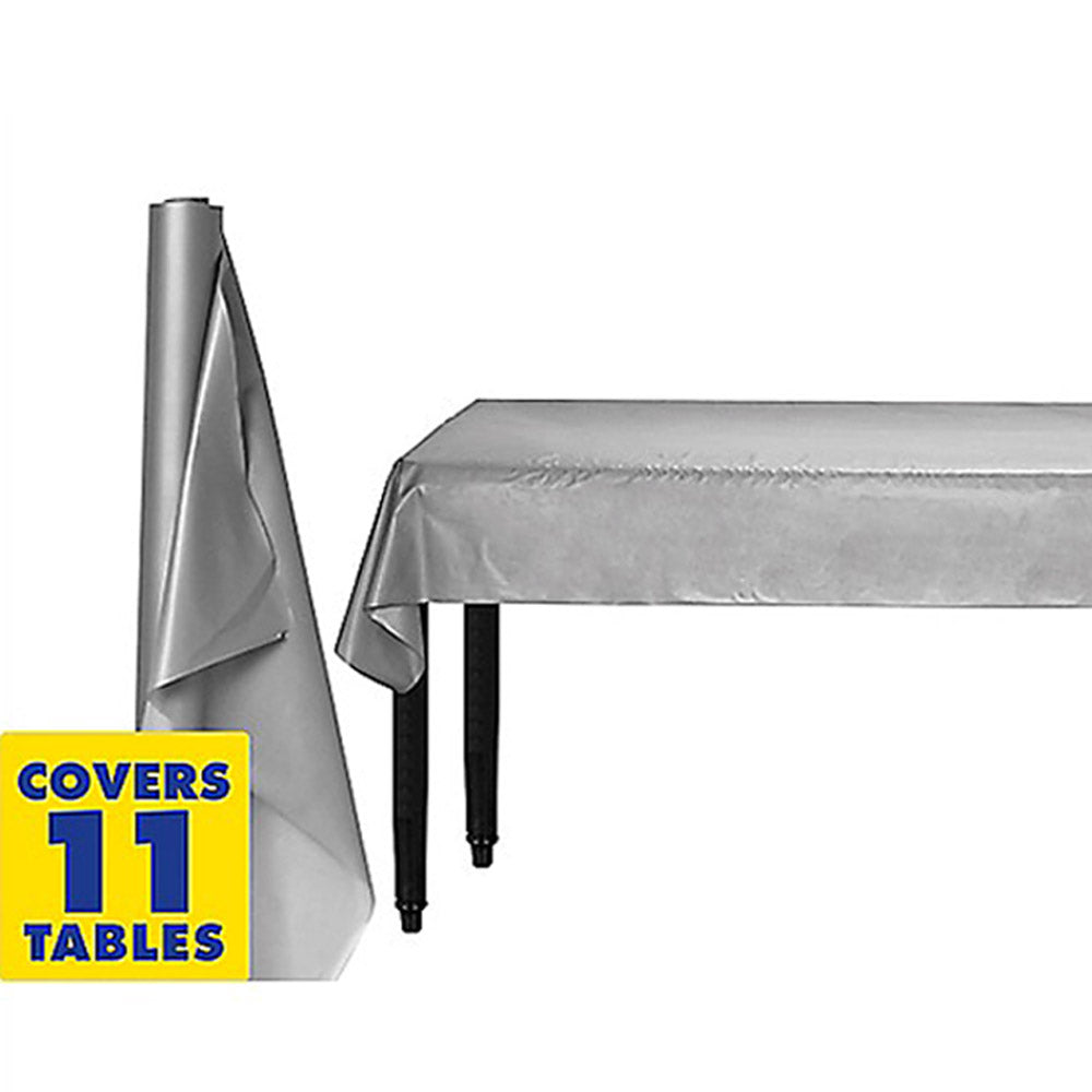 Tablecover Roll Silver Plastic 1.22m x 30.48m (Fits Approx 12 Banquet Tables) - Roll