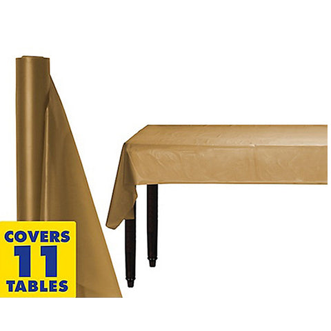 Tablecover Roll Gold Plastic 1.22m x 30.48m (Fits Approx 12 Banquet Tables) - Roll