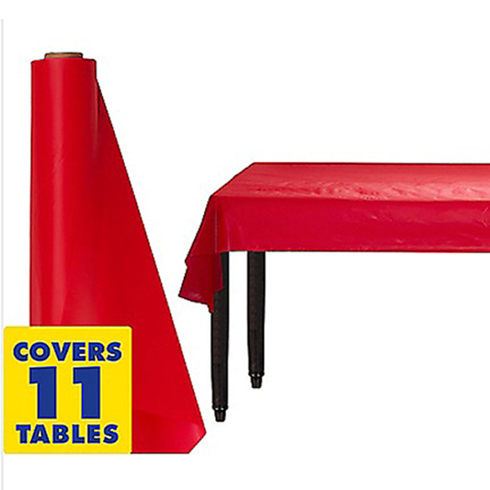 Tablecover Roll Apple Red Plastic 1.22m x 30.48m (Fits Approx 12 Banquet Tables) - Roll