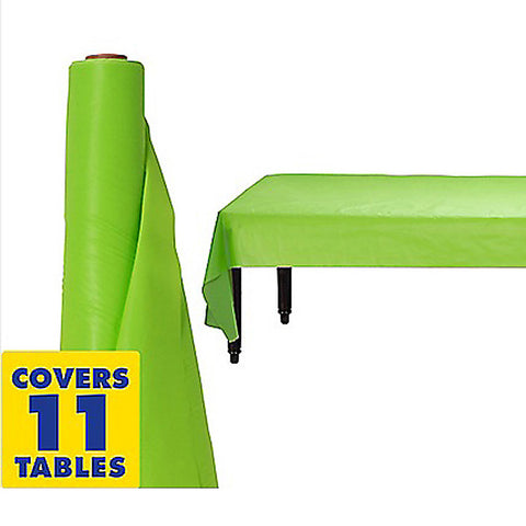 Tablecover Roll Kiwi Lime Green Plastic 1.22m x 30.48m (Fits Approx 12 Banquet Tables) - Each