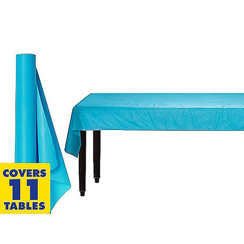 Tablecover Roll Caribbean Blue Plastic 1.22m x 30.48m (Fits Approx 12 Banquet Tables) - Roll