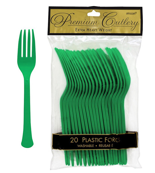 Forks Festive Green Forks Heavy Duty  - Pack of 20