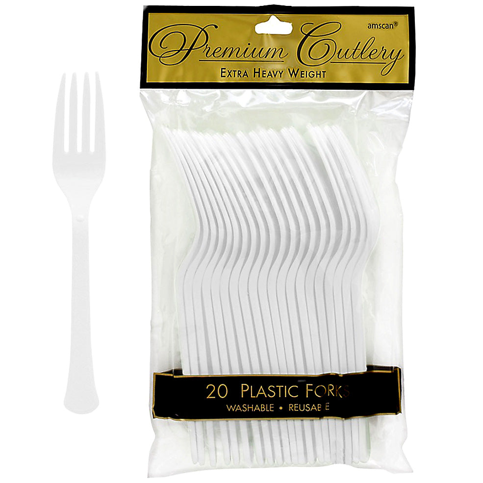 Forks Frosty White Heavy Duty Plastic  - Pack of 20