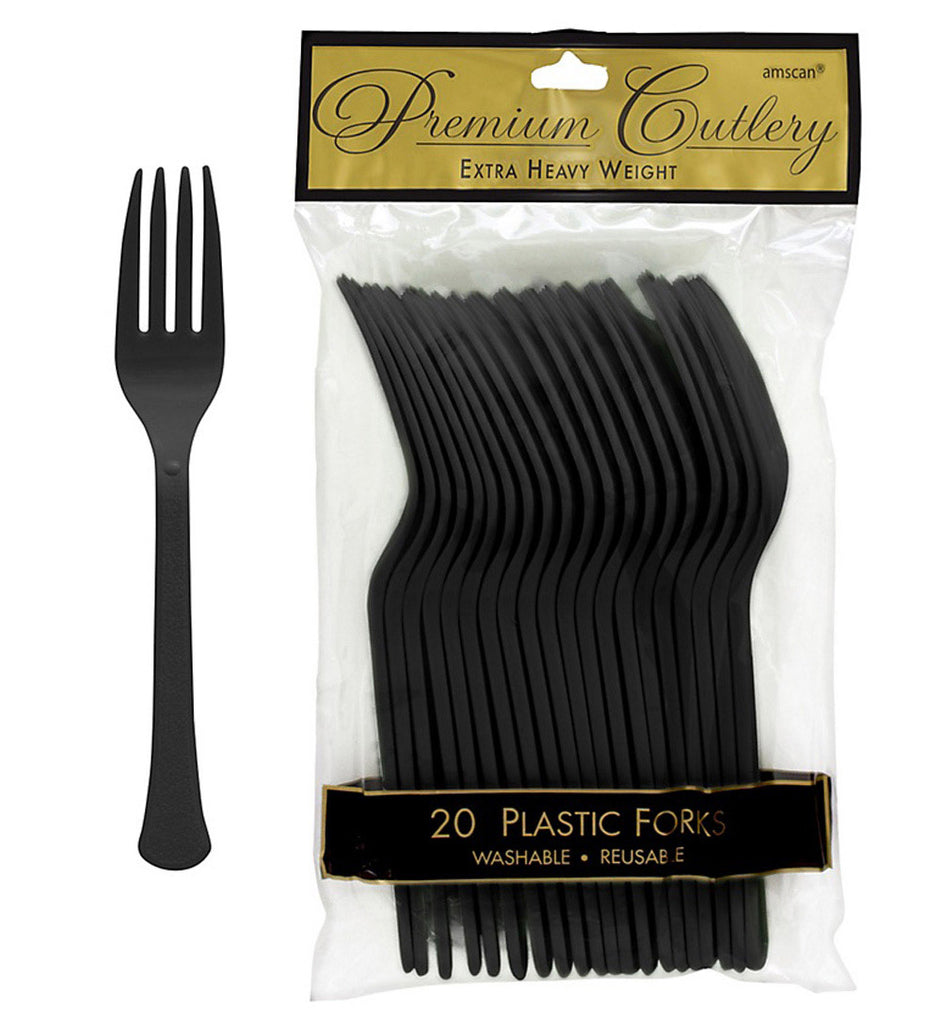 Forks Jet Black Heavy Duty Plastic  - Pack of 20