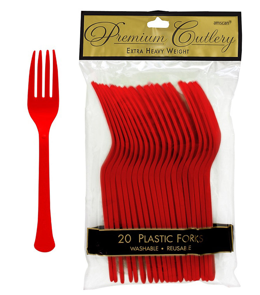 Forks Apple Red Heavy Duty Plastic  - Pack of 20