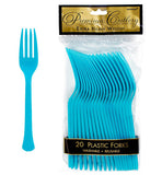 Forks Caribbean Blue Heavy Duty Plastic  - Pack of 20