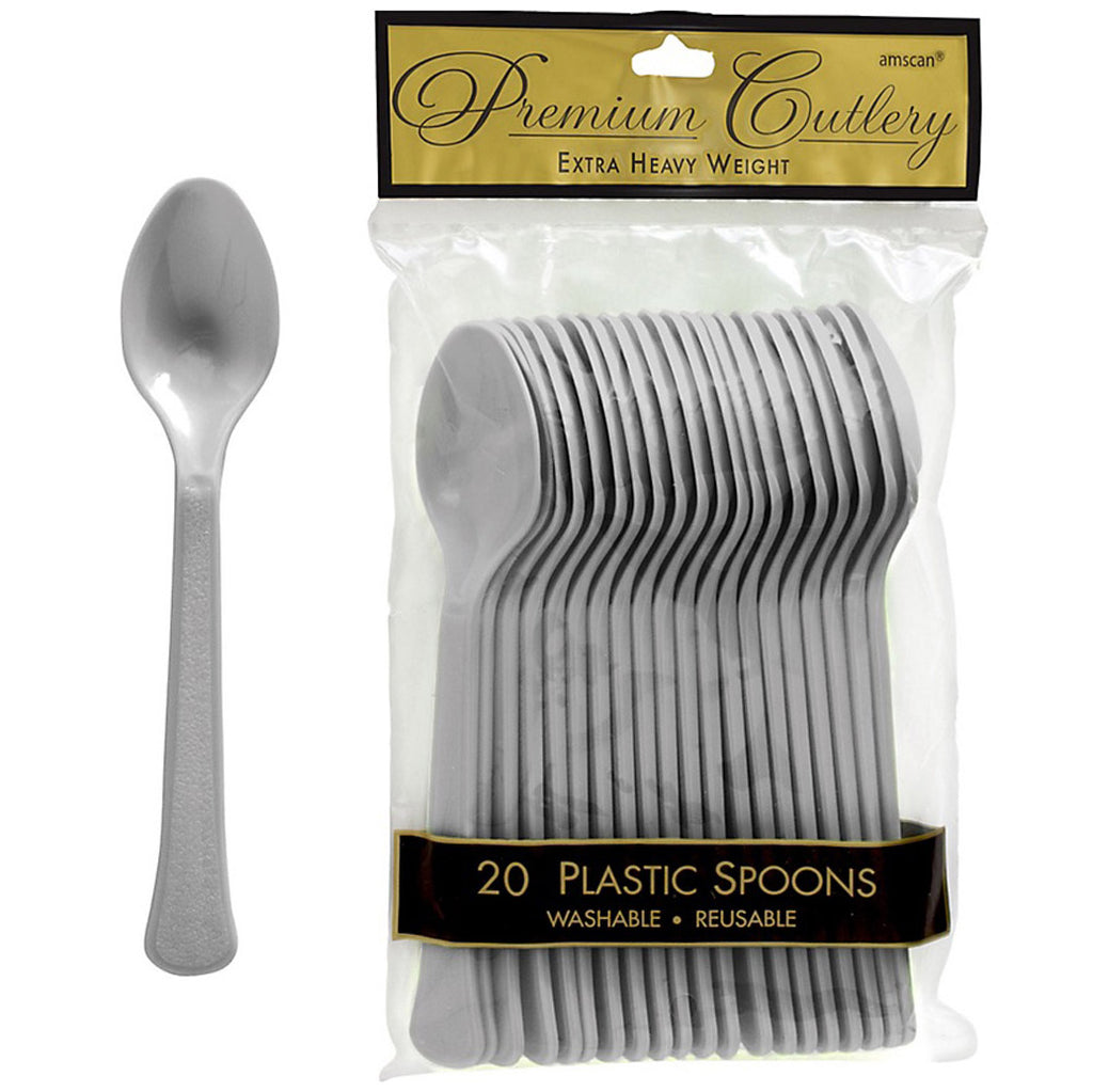 Spoons Silver Heavy Duty Plastic  - Pack of 20