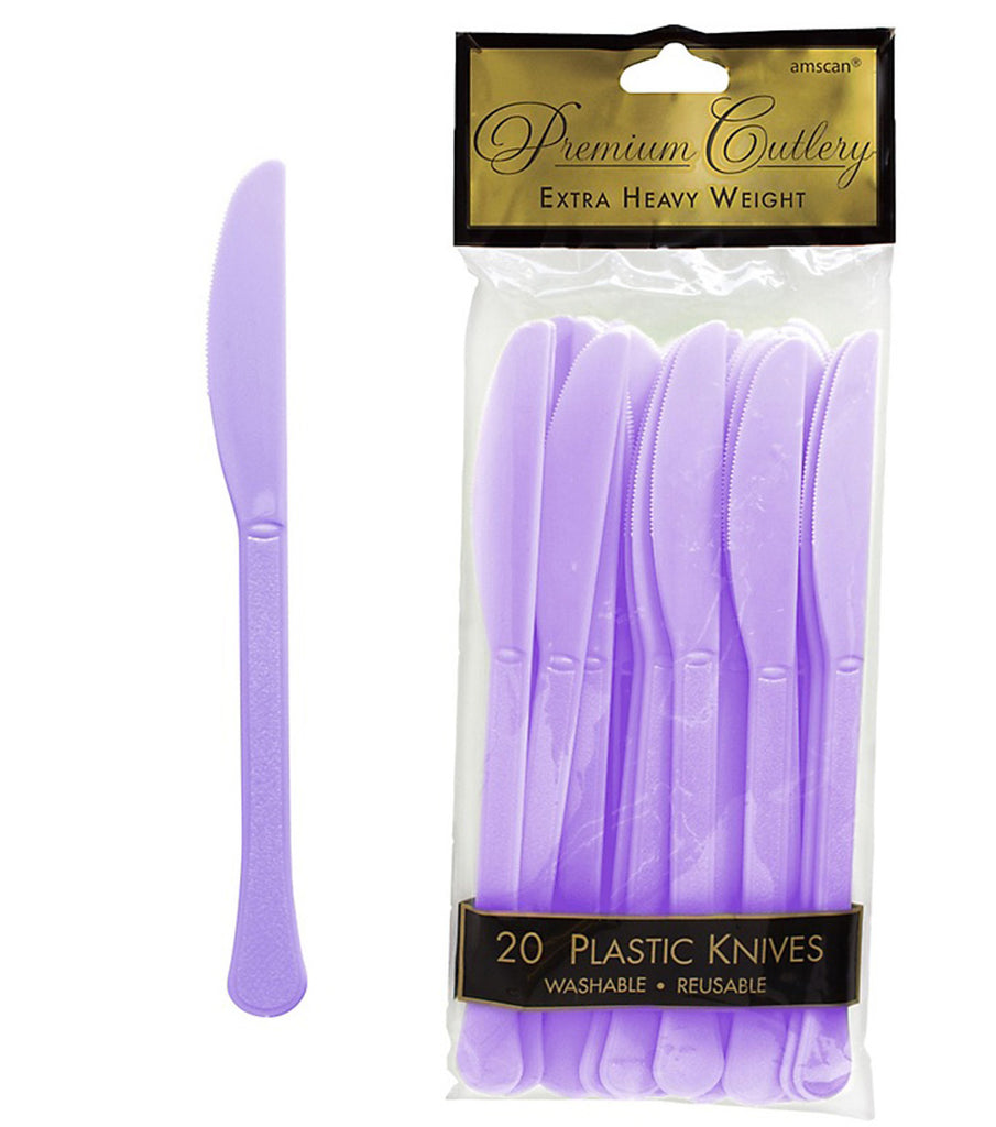 Knives Lavender Lilac Heavy Duty Plastic  - Pack of 20