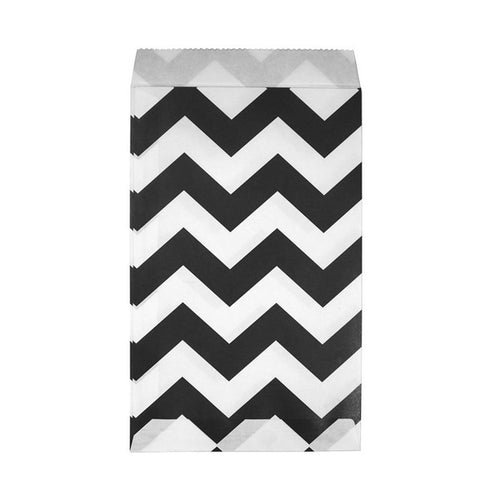Party Paper Loot Bags Black & White Chevron 21cm x 12cm - Pack of 12