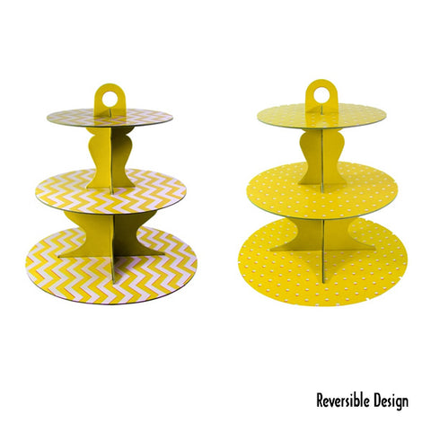 Cupcake Stand Yellow 3 Tier Chevron or Dots Reversible Design Cardboard 34cm High - Each