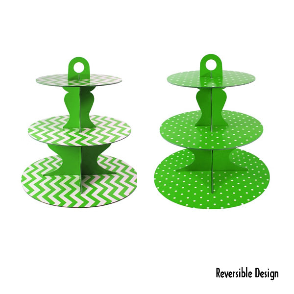 Cupcake Stand Green 3 Tier Chevron or Dots Reversible Design Cardboard 34cm High - Each