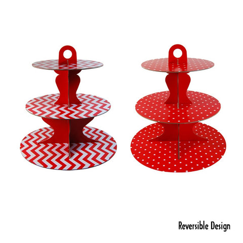 Cupcake Stand Red 3 Tier Chevron or Dots Reversible Design Cardboard 34cm High - Each