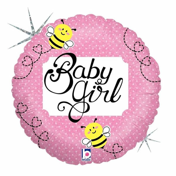 45cm Baby Girl Bee Holographic Foil Balloon (Self sealing balloon, Requires helium inflation) - Each