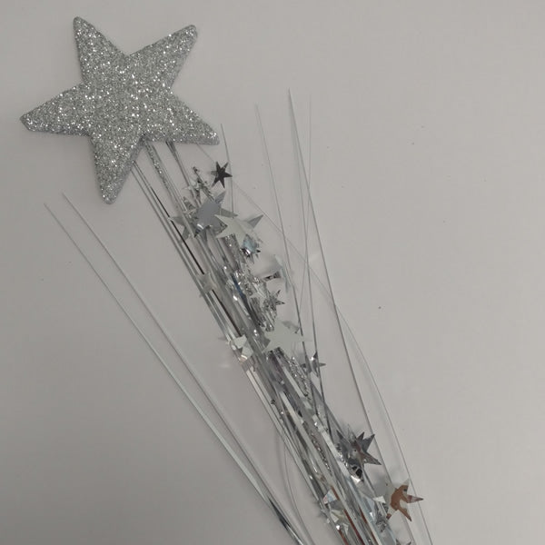 Spray Foam Star Silver & Silver Stars 3D Glittered 61cm - Each