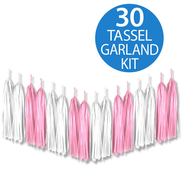 Tassel Garland Tissue Paper Pink & White 2m - 30 Tassels x 35cm Long (Some Assembly Required) - Each