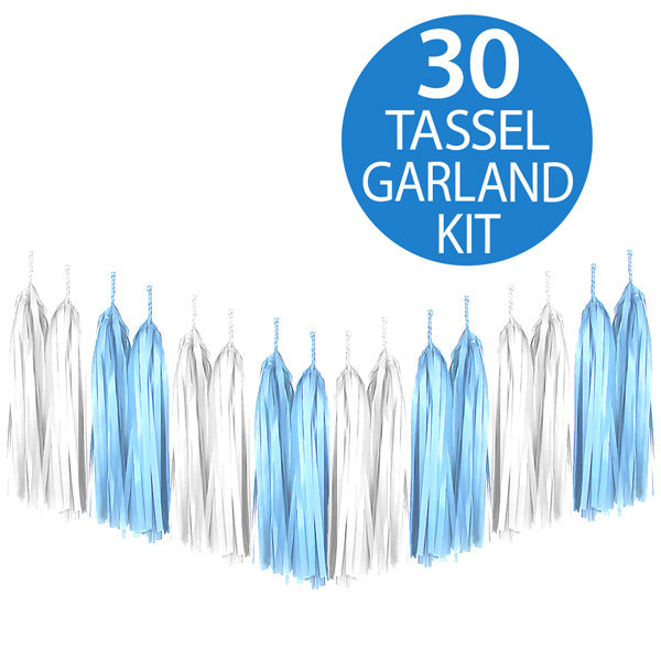 Tassel Garland Tissue Paper Blue & White 2m - 30 Tassels x 35cm Long (Some Assembly Required) - Each