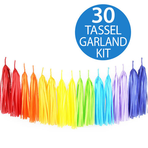 Tassel Garland Tissue Paper Rainbow 2m - 30 Tassels x 35cm Long (Some Assembly Required) - Each