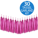 Tassel Garland Tissue Paper Hot Pink / Magenta 2m - 30 Tassels x 35cm Long (Some Assembly Required) - Each
