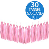 Tassel Garland Tissue Paper Pale Pink 2m - 30 Tassels x 35cm Long (Some Assembly Required) - Each