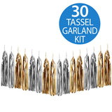 Tassel Garland Gold & Silver Metallic Foil 2m - 30 Tassels x 35cm Long (Some Assembly Required) - Each