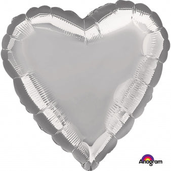 45cm Heart Silver Foil Balloon (Self Sealing Balloon, Requires Helium Inflation) - Each